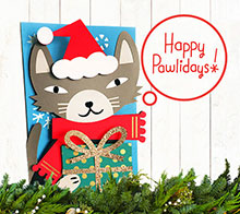 Cat Happy Pawlidays Card