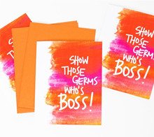 Show Those Germs Who's Boss get well card