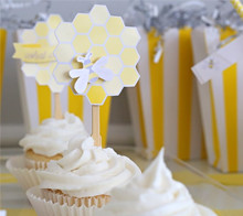 Baby Shower Bee Hive Cupcake Toppers - Kim Byers