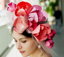Pink and Coral Fascinator
