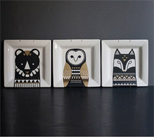 Scandinavian Tribal Animal Print Plates