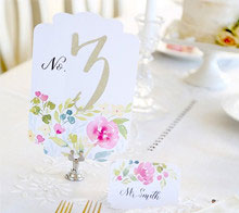 Watercolor Floral Wedding Table Number