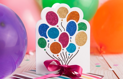 Card with baloons