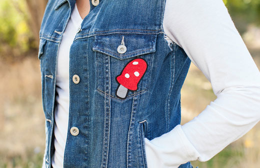 Iron-on Mushroom Denim Vest