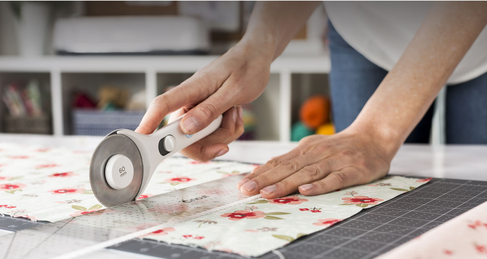 Fabric being cut with Rotary Cutter