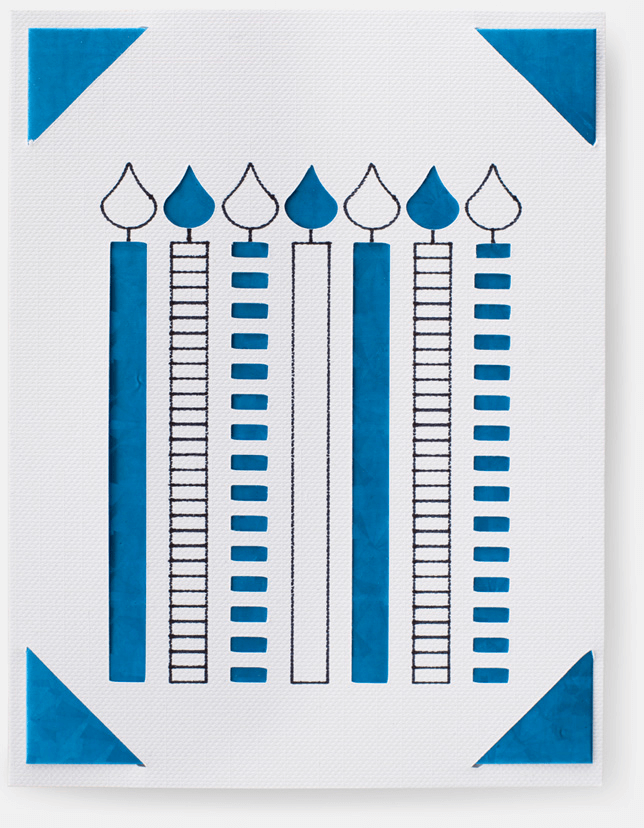 A blue and white card with illustrated candles on it.