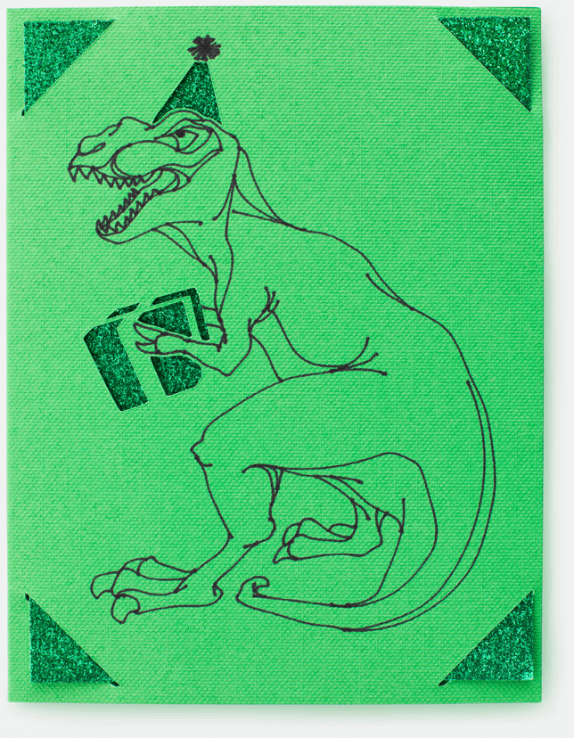 A green card with an illustrated dinosaur with a party hat and holding a gift.