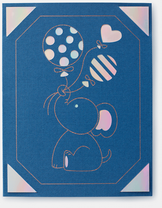 A blue card with an illustated elephant holding some balloons.