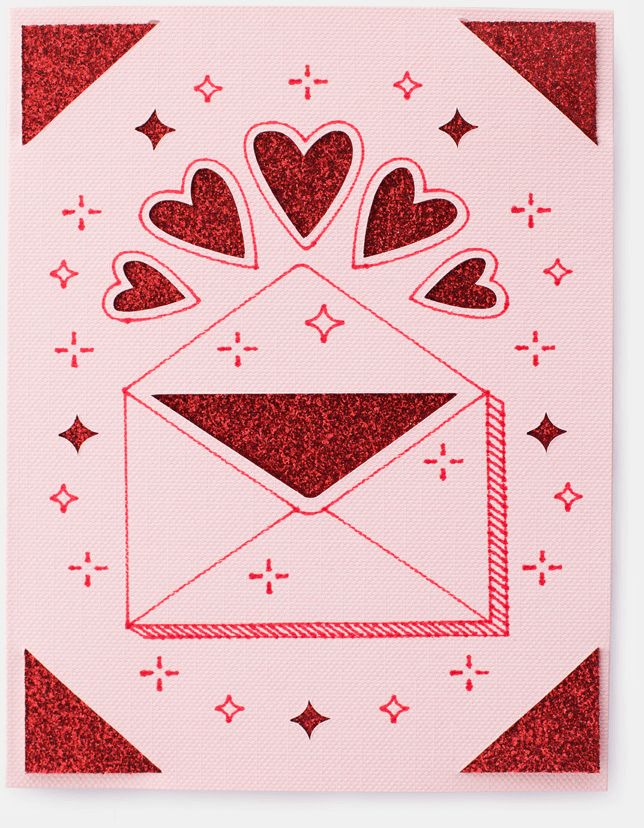 A red and pink card with an illustated envelope and hearts.