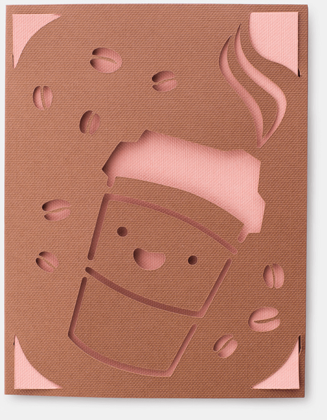 A brown and pink card with an a happy cup of to-go coffee cut out.
