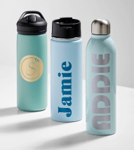 Water bottles with labels made on the Cricut Joy
