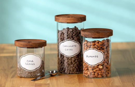 Chia, Chocolate Chips, and Almonds jars with label