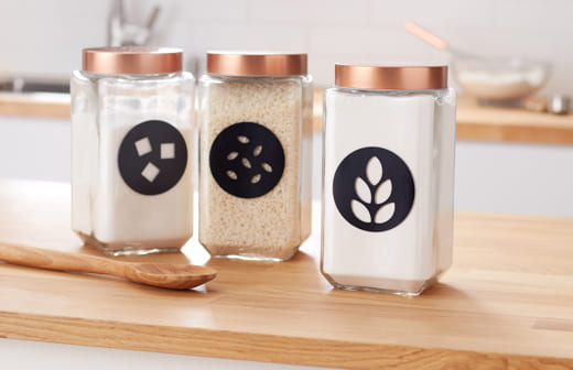 Flour, Rice, and Sugar jars with labels