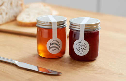 Honey and Jam jars with labels
