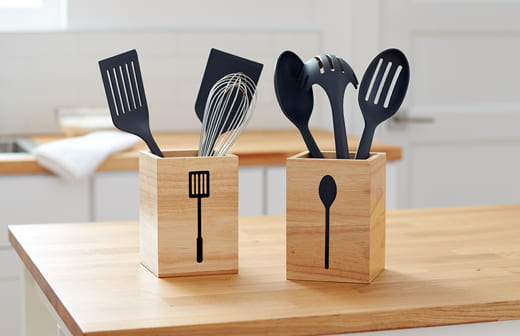 Kitchen tool wood containers