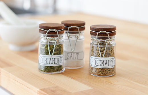 Kitchen spice jars with labels