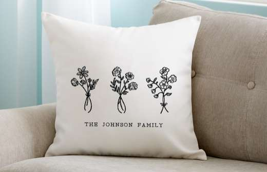 Customized family name pillow project on couch