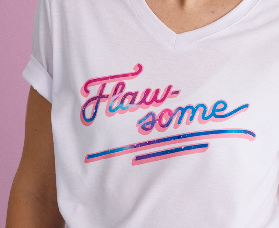 Close-up of Flawsome T-Shirt