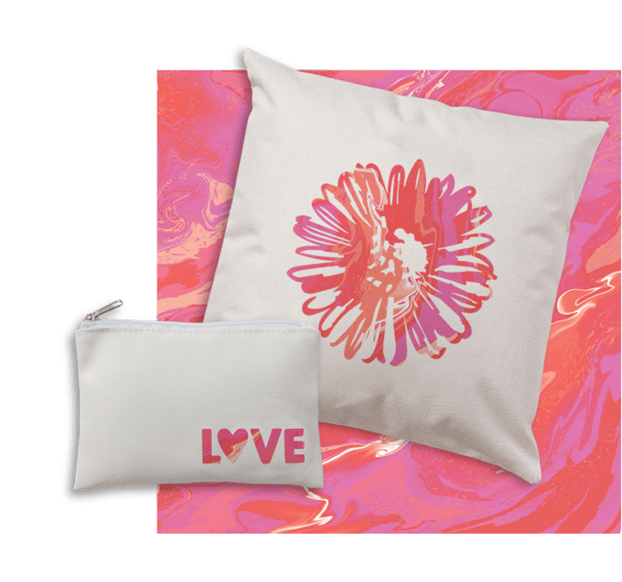 Pillow and Cosmetic Bag with pink Infusible Ink designs