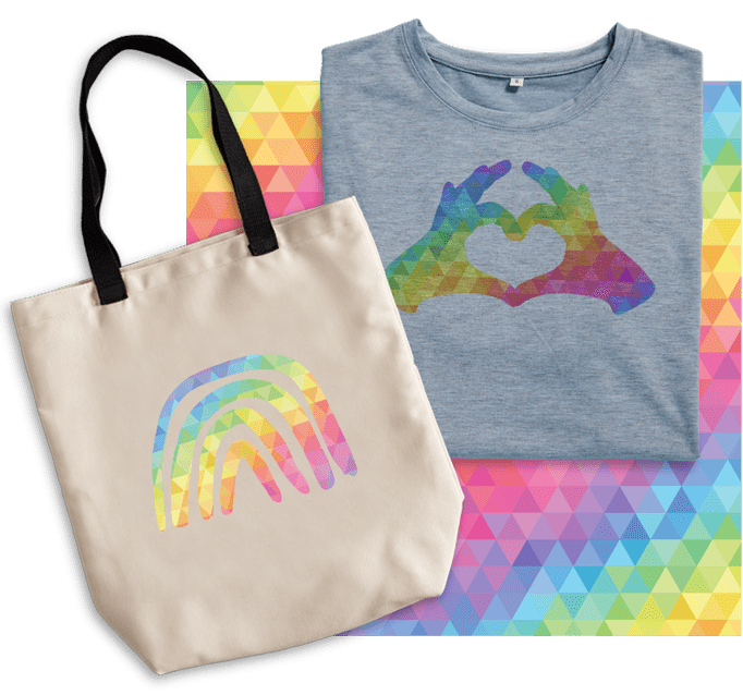 Tote and gray shirt with rainbow Infusible Ink designs