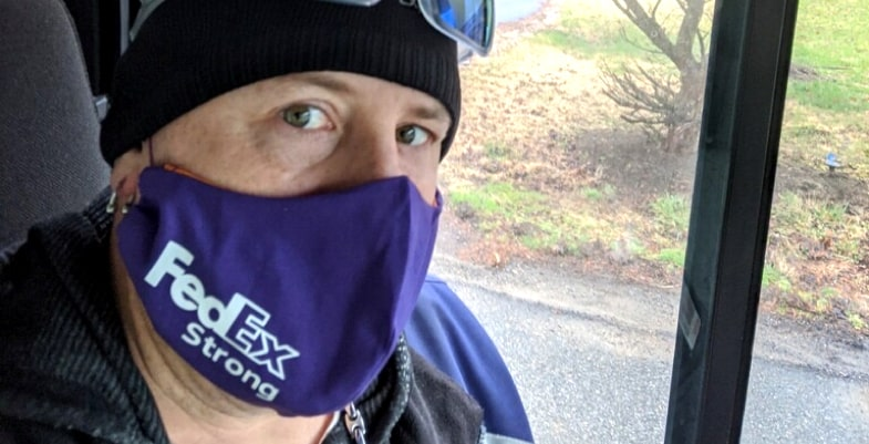 FedEx Delivery Man wearing mask made with Cricut