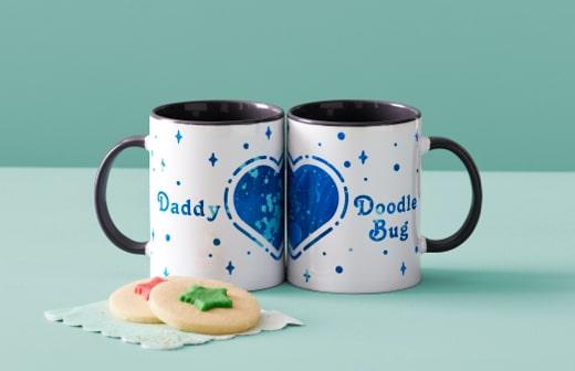 Daddy Doodle Bug Heart Mugs