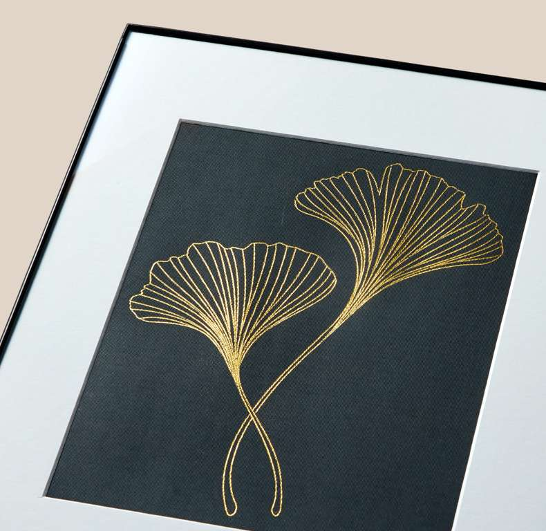 Framed Ginko Leaf Art project made with Foil Transfer Tool