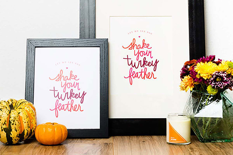 Shake your turkey feather sign
