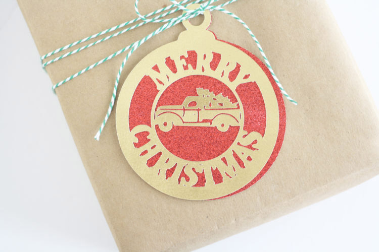 Cute red and gold truck gift tag or Christmas card
