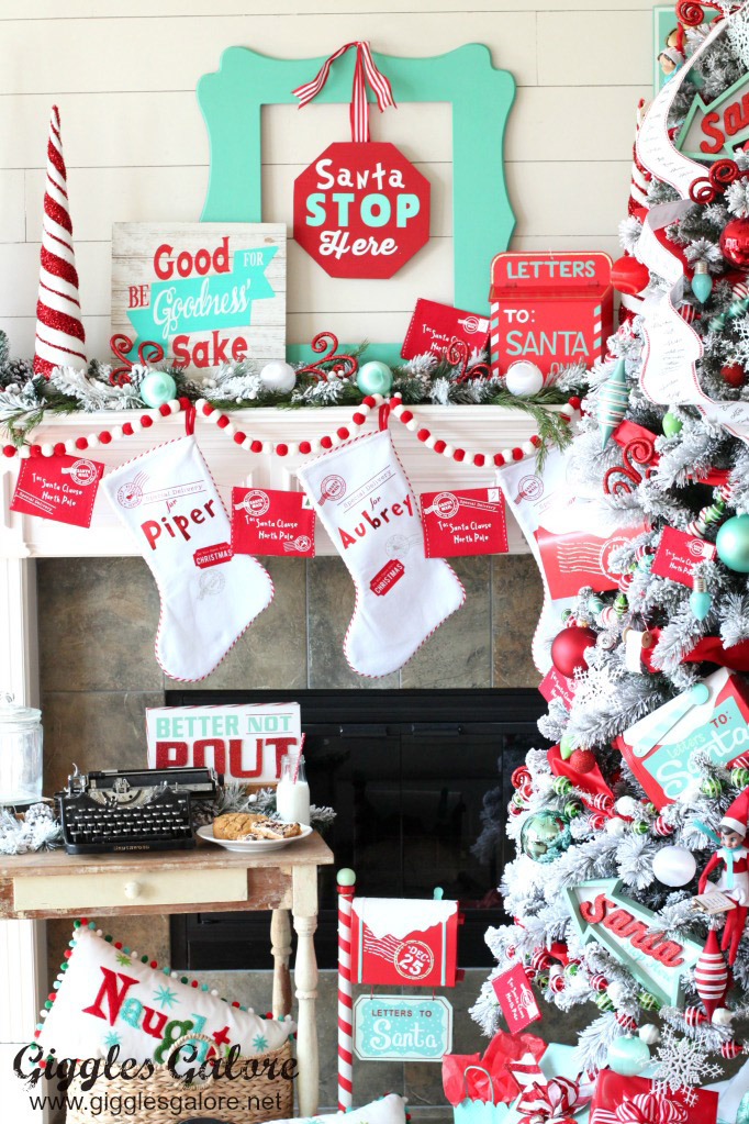 Whimsical North Pole Christmas Mantel by Giggles Galore