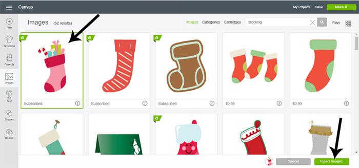 Pick out the image for your stocking onesie