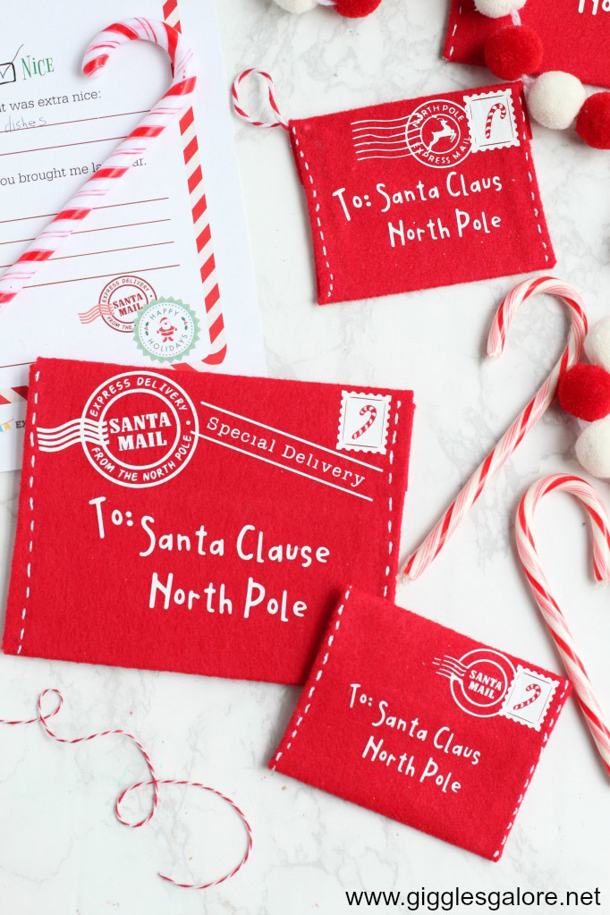 DIY Letter to Santa Felt Envelope from Giggles Galore