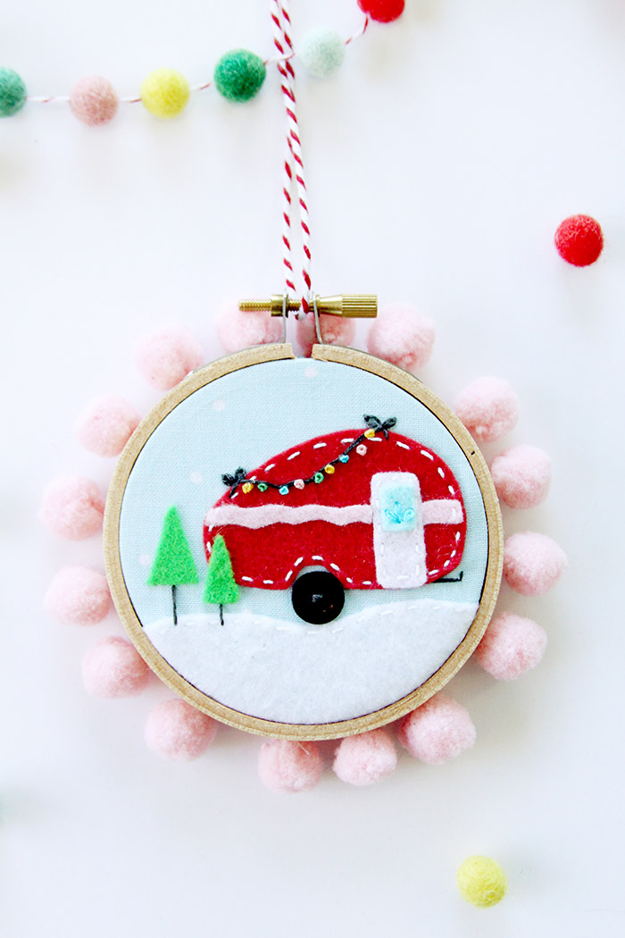 DIY Felt Mini Hoop Ornament from Flamingo Toes