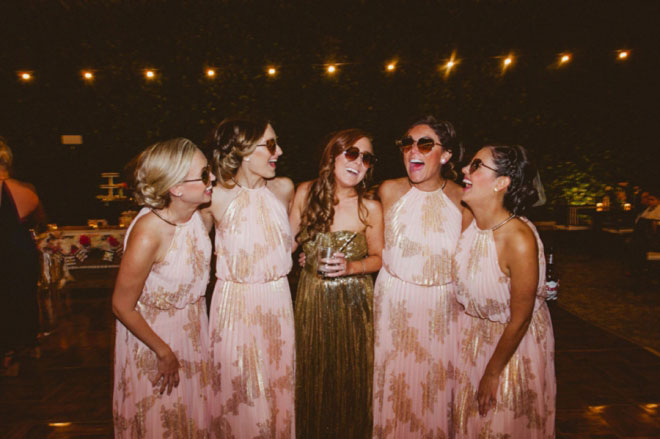 Aren't her and her besties just adorable!?! …and that reception dress! Gold glitter heaven!