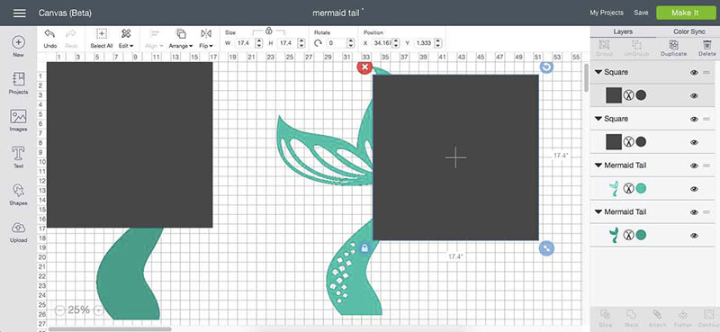 Create square shapes that will help you get the mermaid tail to be long enough