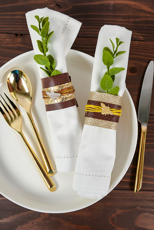 Add the decorations to your napkin rings