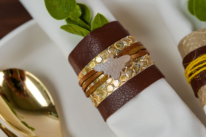 Closeup of decorated napkin ring