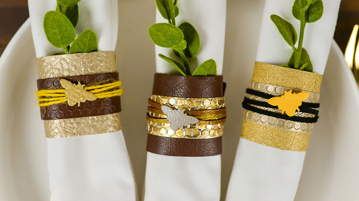 Mixed media napkin rings using a Cricut Cuttlebug