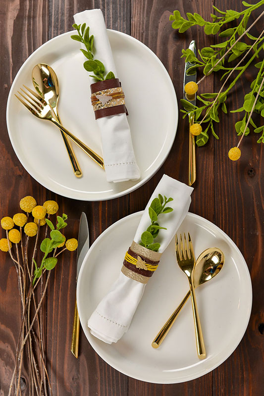 Mixed media napkin rings with table settings