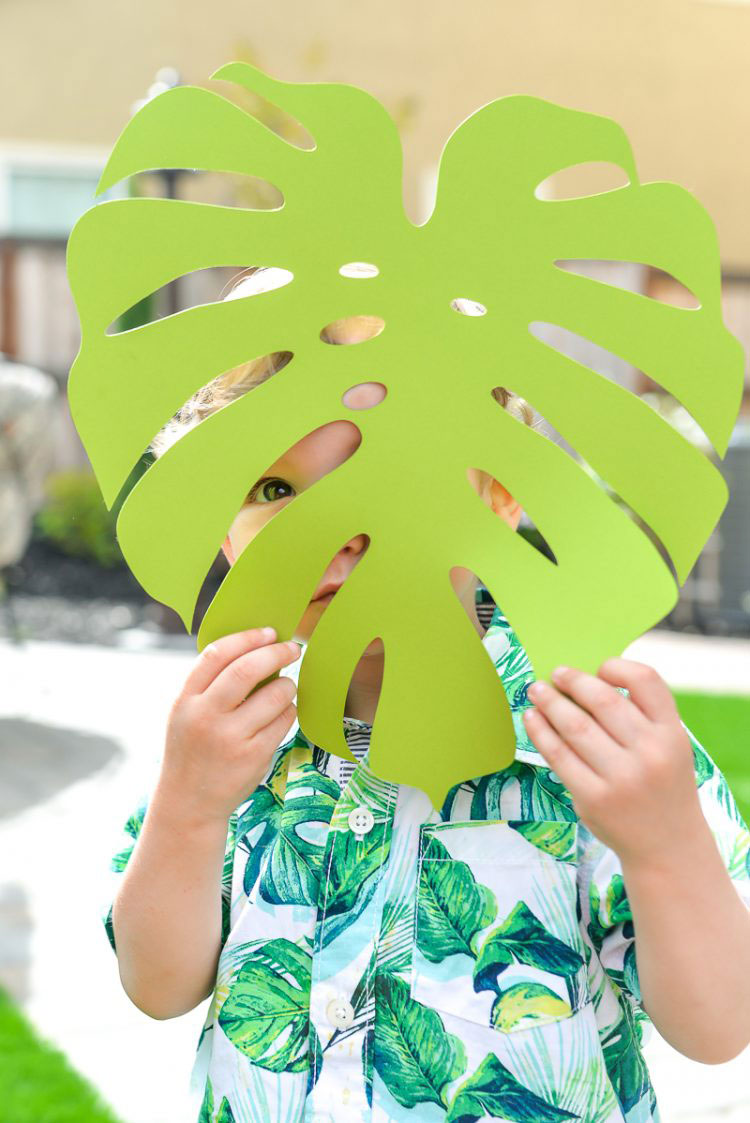 Giant tropical leaves are a festive addition to your pool party