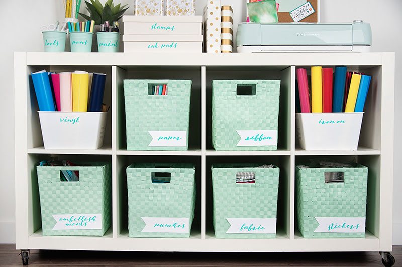 Craft room labels on the cube shelf baskets and more