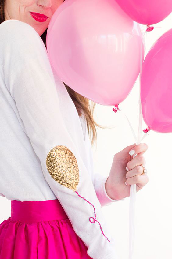 Add a whimsical touch to any long sleeve tee with these balloon elbow patches