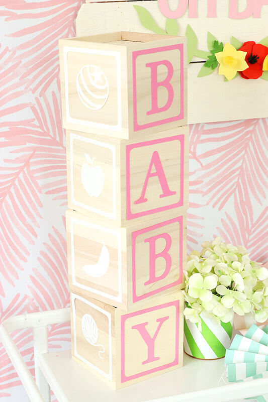 Cute baby blocks decor for a baby shower