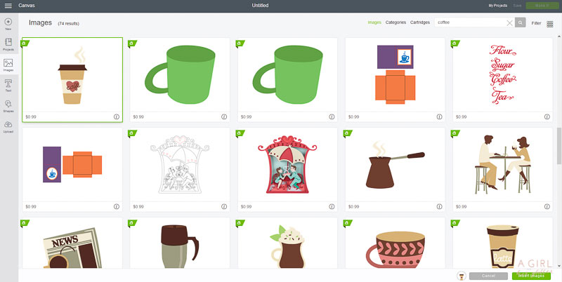 Find the coffee image you want to use in Design Space