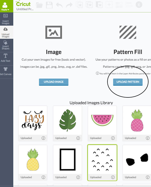 You can upload your own patterns into Cricut Design Space