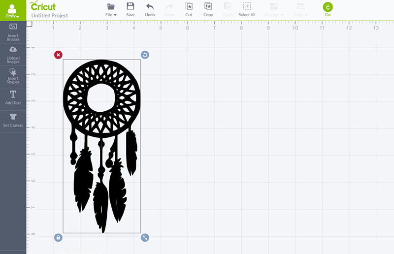 Silhouette of a dream catcher in Design Space
