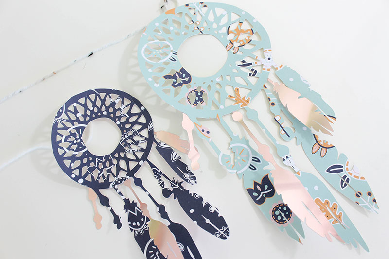 Put metallic foil feathers on your dream catchers