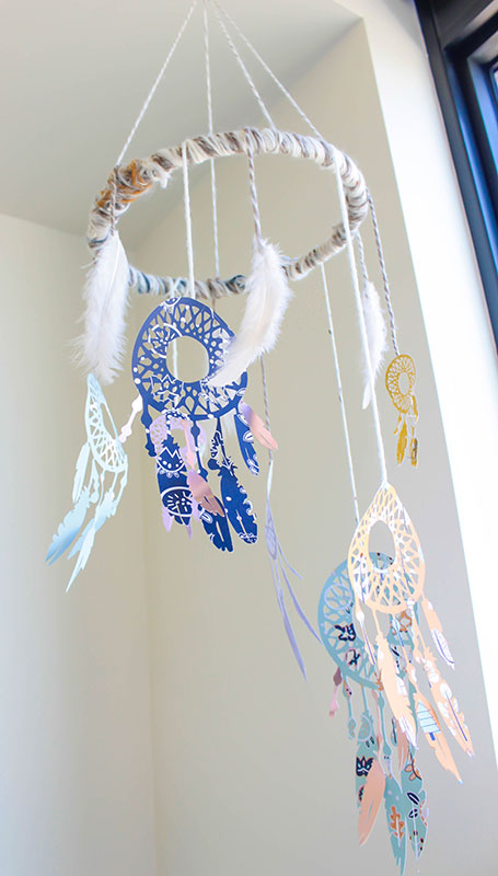 Finished dream catcher mobile