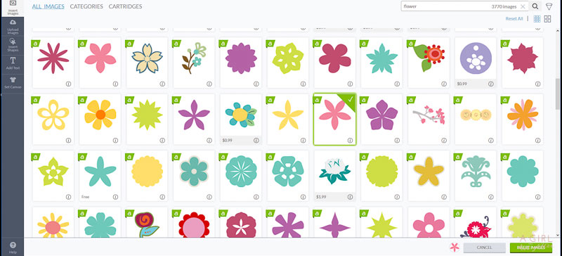 Choose your flower design in Cricut's Design Space