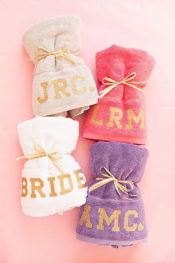 Monogram towels for your bridal party